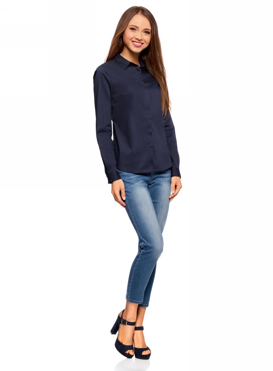 Рубашка женская oodji Ultra, цвет: темно-синий. 11403228B/42083/7900N. Размер 34-170 (40-170)11403228B/42083/7900NКлассическая женская рубашка выполнена из комбинированного материала. Модель с длинными рукавами и отложным воротником застегивается на пуговицы, скрытые планкой.