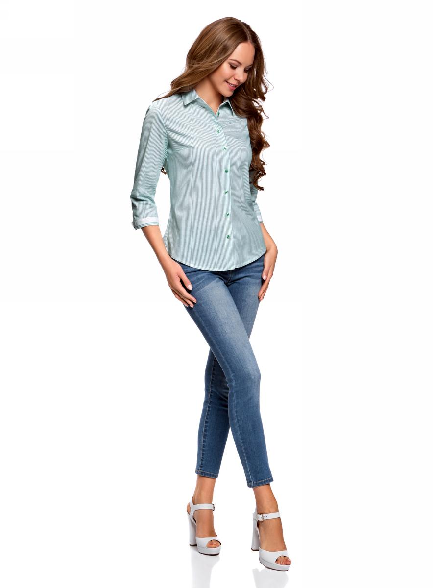 Блузка женская oodji Ultra, цвет: белый, изумрудный. 11403201-1B/43346/106DS. Размер 44 (50-170)