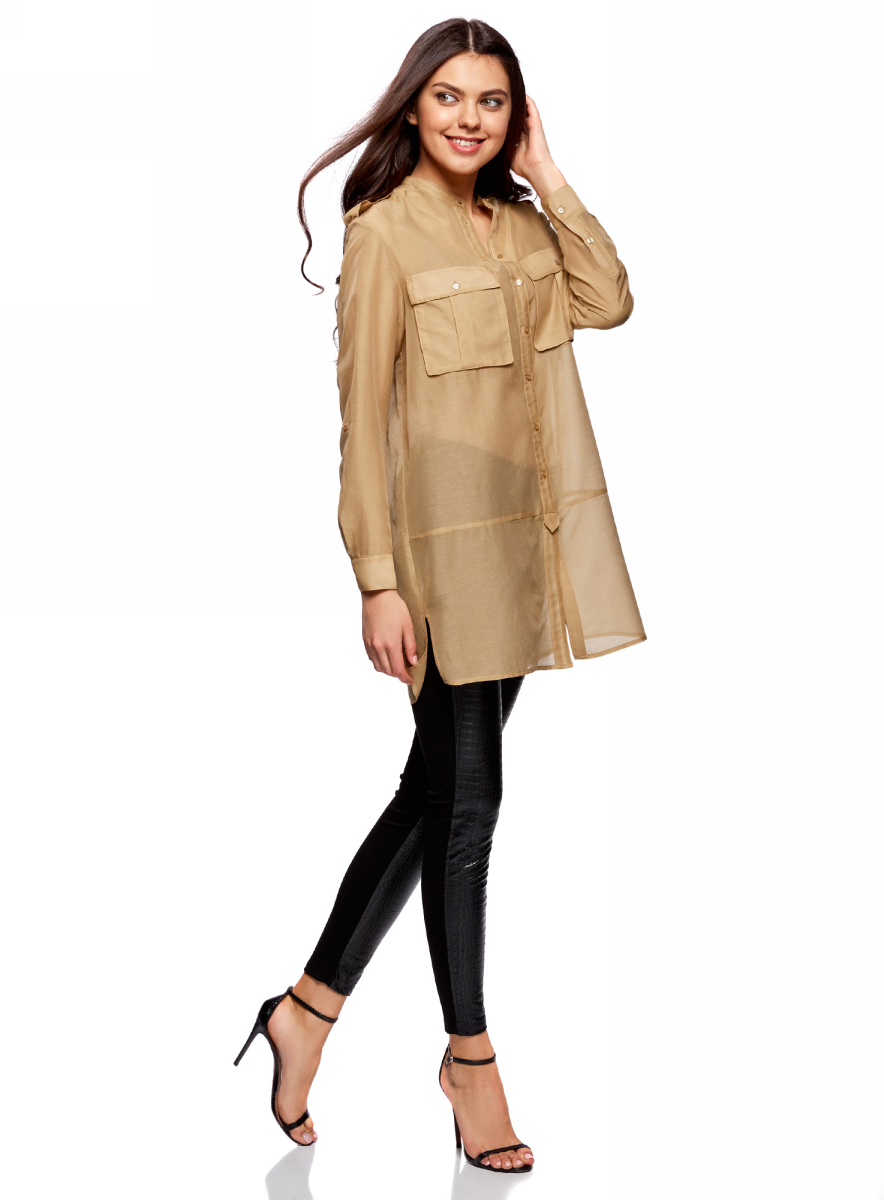 Блузка женская oodji Ultra, цвет: бежевый. 11411153/46626/3300N. Размер 38-170 (44-170)11411153/46626/3300NБлузка oodji изготовлена из качественной смесовой ткани. Модель с круглой горловиной и длинными рукавами застегивается на пуговицы. Блузка свободного кроя дополнена спереди двумя накладными карманами.
