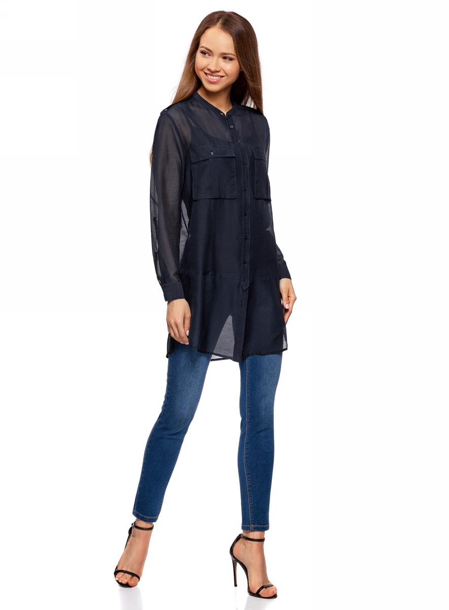 Блузка женская oodji Ultra, цвет: темно-синий. 11411153/46626/7900N. Размер 38-170 (44-170)11411153/46626/7900NБлузка oodji изготовлена из качественной смесовой ткани. Модель с круглой горловиной и длинными рукавами застегивается на пуговицы. Блузка свободного кроя дополнена спереди двумя накладными карманами.