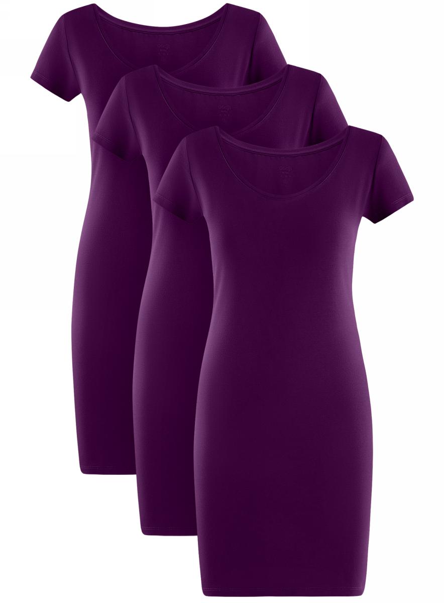 Платье oodji Ultra, цвет: фиолетовый, 3 шт. 14001182T3/47420/8300N. Размер L (48)14001182T3/47420/8300NТрикотажное платье oodji изготовлено из качественного эластичного хлопка. Модель выполнена с круглой горловиной и короткими рукавами.