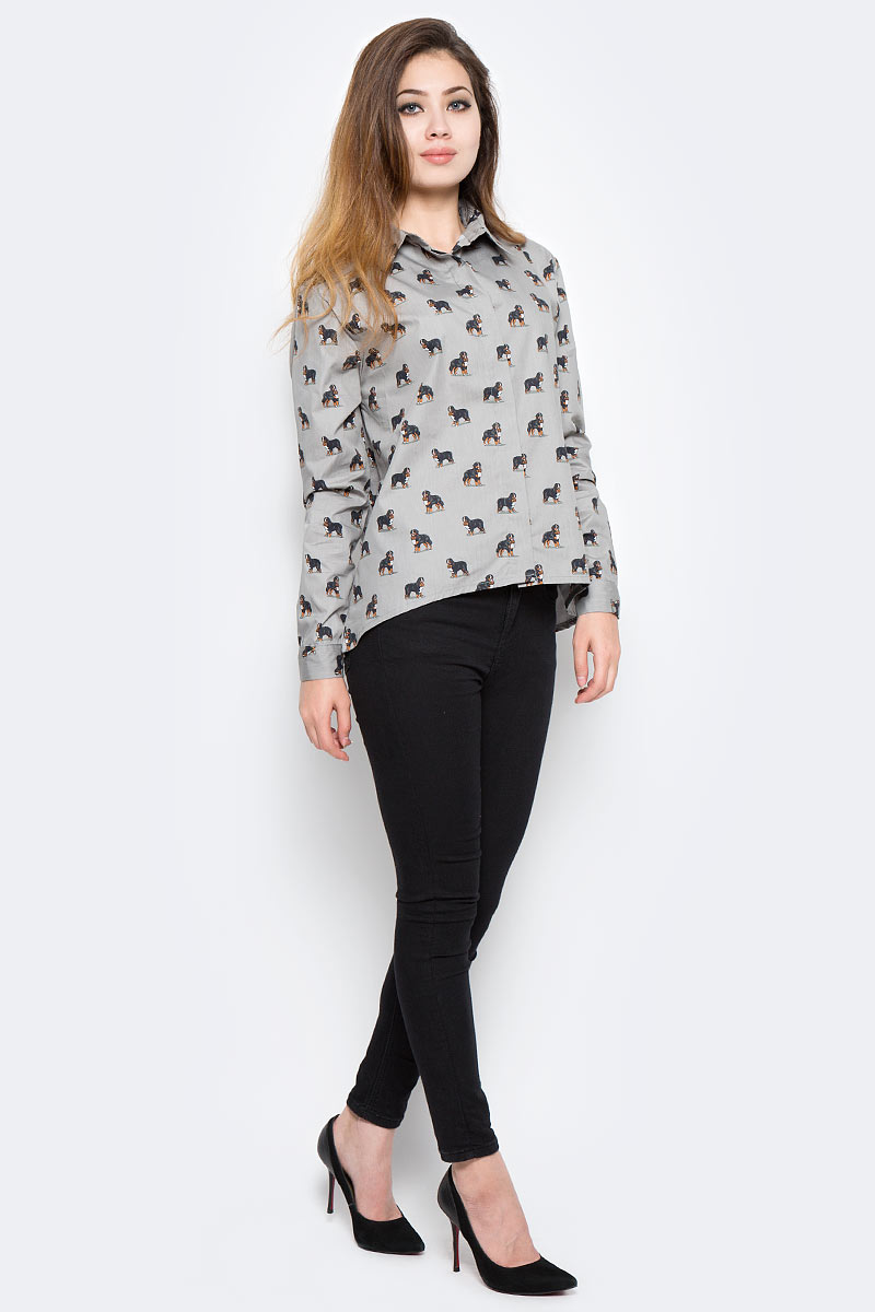 Рубашка женская Kawaii Factory Бернский зенненхунд, цвет: серый. KW181-000001. Размер 42/46KW181-000001