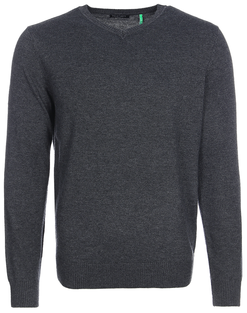 Джемпер мужской Sela, цвет: темно-серый меланж. JR-214/271-7340. Размер M (48)