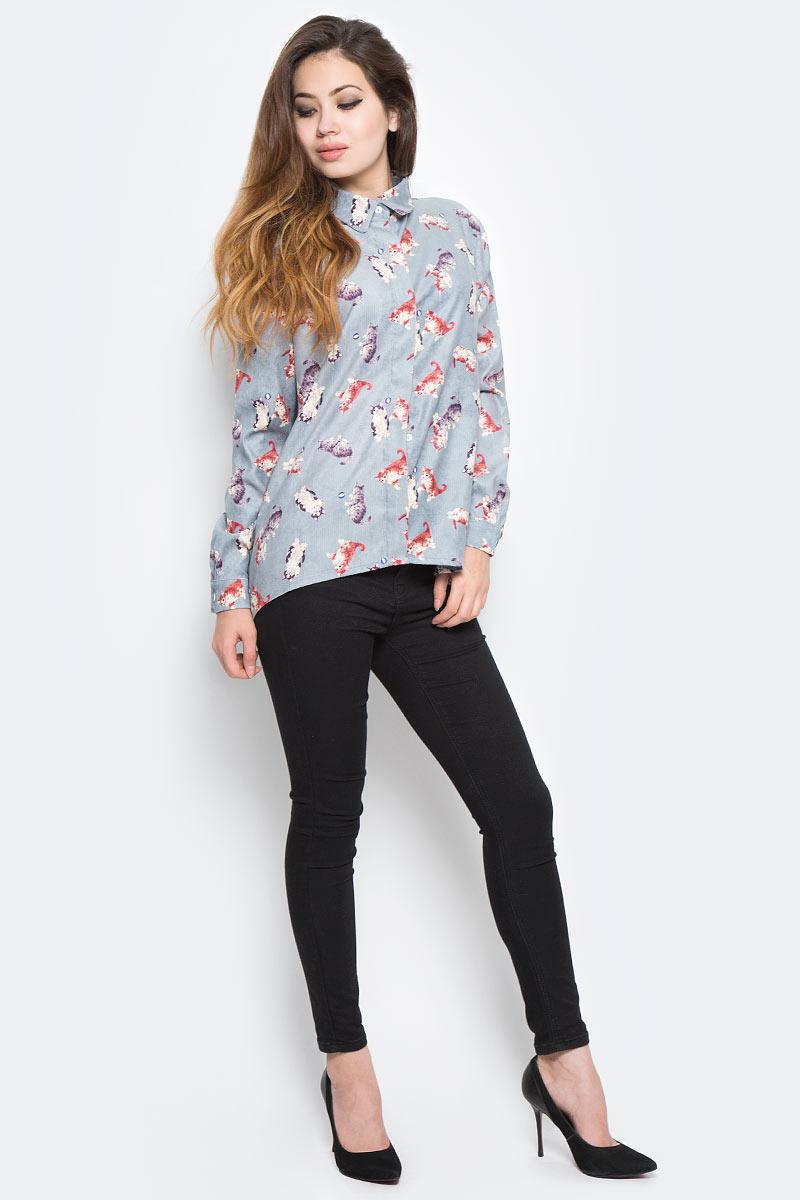 Рубашка женская Kawaii Factory Котята, цвет: серый. KW177-000045. Размер 42/46KW177-000045