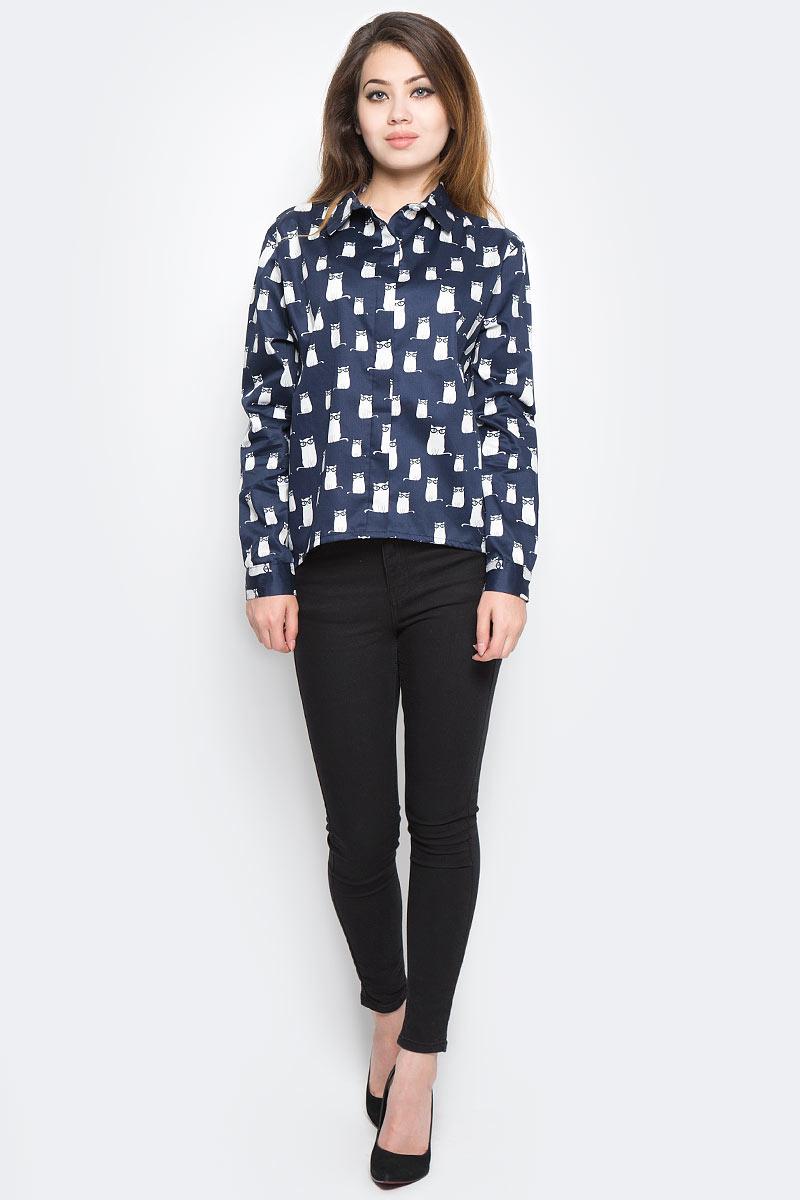 Рубашка женская Kawaii Factory Котики, цвет: темно-синий. KW181-000005. Размер 42/46KW181-000005