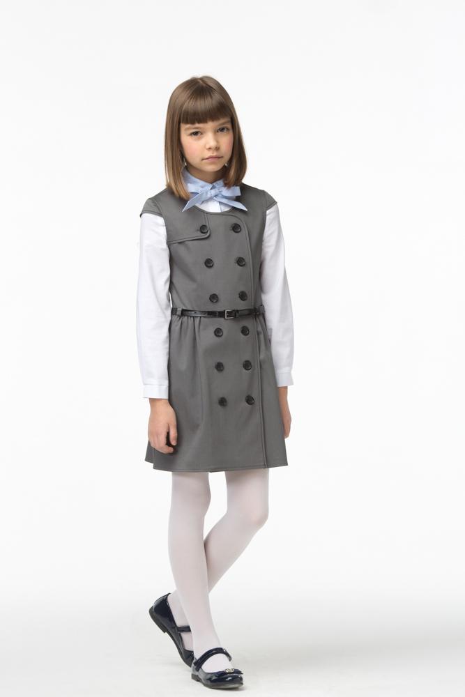 Сарафан для девочки Смена, цвет: серый. 16с28. Размер 146/152 цена 2017