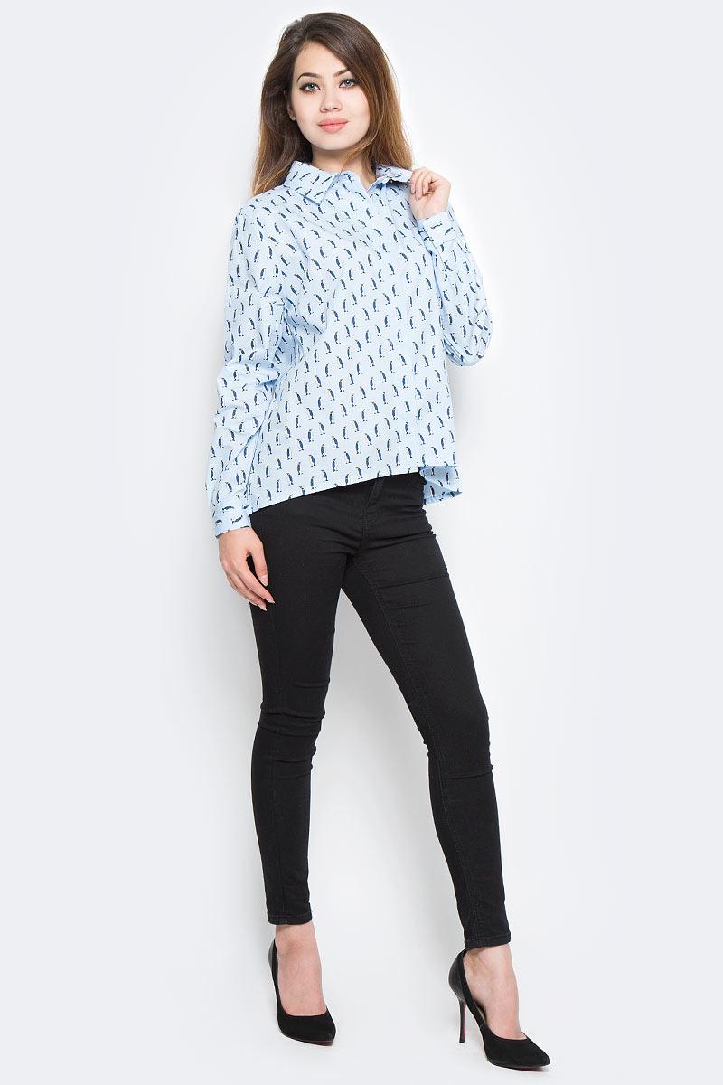 Рубашка женская Kawaii Factory Пингвины, цвет: голубой. KW181-000006. Размер 42/46KW181-000006