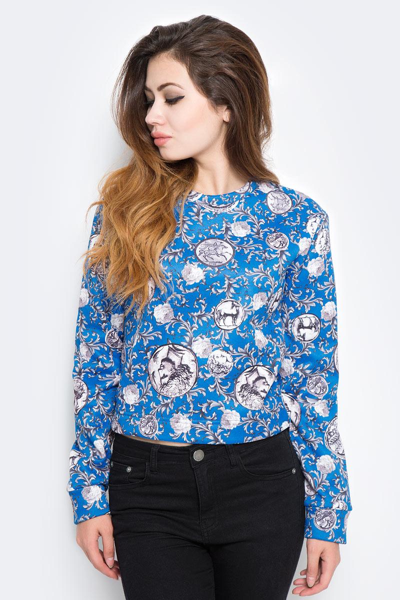Купить Свитшот женский Kawaii Factory Античный, цвет: синий. KW176-000001. Размер M (44/46)