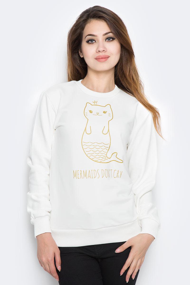 Купить Свитшот женский Kawaii Factory Mermaids, цвет: белый. KW079-000120. Размер M (44)