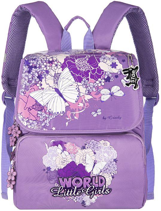 Grizzly Рюкзак школьный цвет сиреневый RA-545-1RA-545-1/3Школьный рюкзак для девочек, с клапаном, двумя основными отделениями, передним объемными карманом на молнии, объемным пеналом на передней стенке, с анатомической спинкой.
