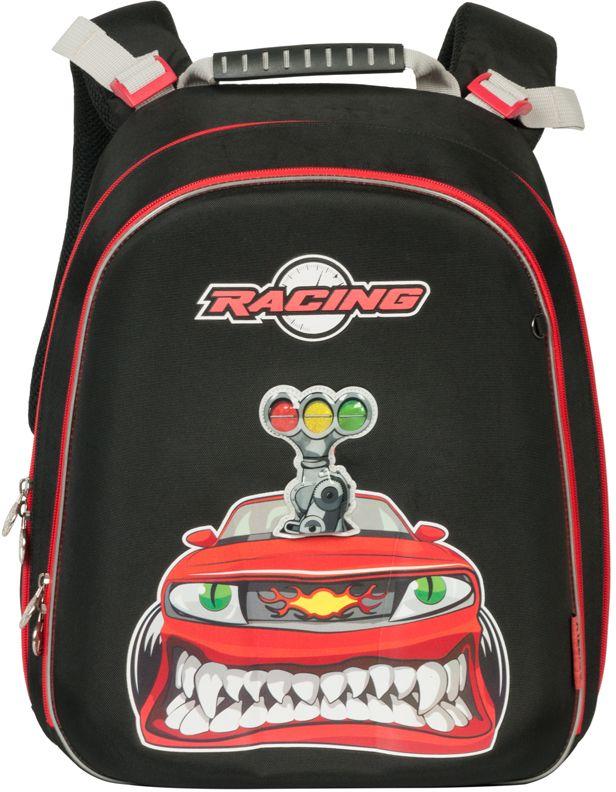 Grizzly Ранец школьный цвет черный RA-669-2RA-669-2/1Школьный ранец Grizzly Racing - это красивый и удобный ранец, который подойдет всем, кто хочет разнообразить свои школьные будни. Ранец имеет жесткий каркас, выполнен из плотного нейлона и оформлен оригинальным ярким изображением.Ранец имеет два основных вместительных отделения на застежках-молниях. В первом отделении расположены две мягкие перегородки для тетрадей и учебников. Во втором отделении имеются два сетчатых кармана, открытый и на молнии, карман под клапаном с липучкой под мобильный телефон, четыре кармашка под канцелярские принадлежности и лента с карабином для ключей.На лицевой стороне ранец декорирован подвеской-брелоком в виде гоночной машинки. Ранец оснащен удобной ручкой для переноски.Широкие регулируемые лямки и сетчатые мягкие вставки на спинке ранца предохранят мышцы спины ребенка от перенапряжения при длительном ношении. Высота посадки лямок может регулироваться благодаря специальным приспособлениям на спинке.Многофункциональный школьный ранец станет незаменимым спутником вашего ребенка в походах за знаниями.