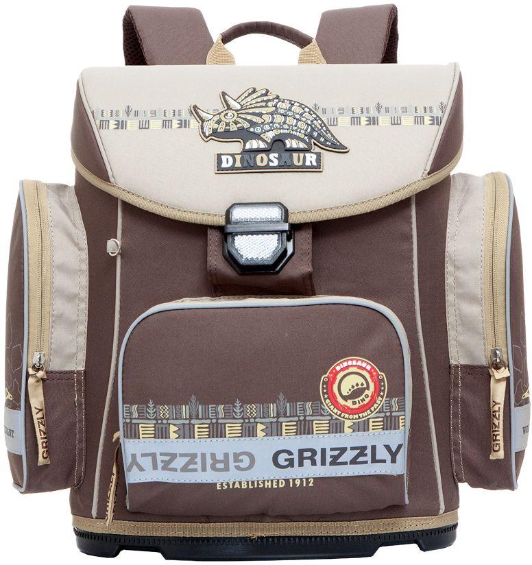 Grizzly Ранец школьный цвет коричневый RA-675-2RA-675-2/1Школьный ранец Grizzly обязательно привлечет внимание вашего ребенка. Ранец выполнен из современного легкого и прочного материала.Ранец содержит одно вместительное отделение, закрывающееся клапаном на защелку со встроенным светоотражателем. Клапан полностью откидывается, что облегчает пользование ранцем. На внутренней части клапана находится прозрачный пластиковый кармашек, в который можно поместить расписание занятий или личные данные ученика.По бокам ранца расположены два кармана на молниях. На лицевой стороне находится накладной карман на застежке-молнии, куда будет удобно убирать пенал.Эргономичная конструкция спинки снижает давление и оптимально распределяет нагрузку на позвоночник. Мягкие анатомические лямки позволяют легко и быстро отрегулировать ранец в соответствии с ростом ребенка. Ранец оснащен ручкой-петлей для удобной переноски в руке или подвешивания на крючок.Пластиковое формованное дно обеспечивает ранцу хорошую устойчивость и защиту от загрязнений. Светоотражающие элементы обеспечивают дополнительную безопасность в темное время суток.