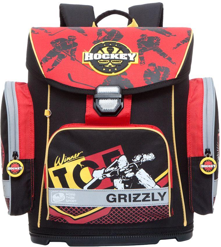 Grizzly Ранец школьный цвет черный RA-675-3RA-675-3/2Школьный ранец Grizzly обязательно привлечет внимание вашего ребенка. Ранец выполнен из современного легкого и прочного материала.Ранец содержит одно вместительное отделение, закрывающееся клапаном на защелку со встроенным светоотражателем. Клапан полностью откидывается, что облегчает пользование ранцем. На внутренней части клапана находится прозрачный пластиковый кармашек, в который можно поместить расписание занятий или личные данные ученика.По бокам ранца расположены два кармана на молниях. На лицевой стороне находится накладной карман на застежке-молнии, куда будет удобно убирать пенал.Эргономичная конструкция спинки снижает давление и оптимально распределяет нагрузку на позвоночник. Мягкие анатомические лямки позволяют легко и быстро отрегулировать ранец в соответствии с ростом ребенка. Ранец оснащен ручкой-петлей для удобной переноски в руке или подвешивания на крючок.Пластиковое формованное дно обеспечивает ранцу хорошую устойчивость и защиту от загрязнений. Светоотражающие элементы обеспечивают дополнительную безопасность в темное время суток.