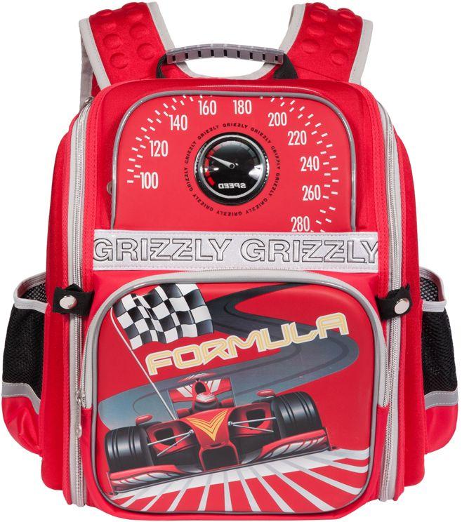 Grizzly Рюкзак школьный цвет красный RA-677-2RA-677-2/2Рюкзак школьный, одно отделение, два объемных кармана на молнии на передней стенке, объемные боковые карманы на молнии, внутренний карман на молнии, внутренний составной пенал-органайзер, жесткая анатомическая спинка, дополнительная ручка-петля, укрепленные лямки, брелок-игрушка, нашивка с мигающими огнями, светоотражающие элементы с четырех сторон.