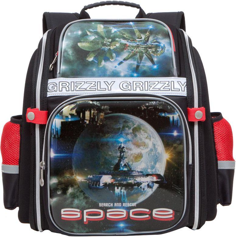 Grizzly Ранец школьный цвет черный красный RA-677-3 grizzly рюкзак школьный цвет серый ra 780 1