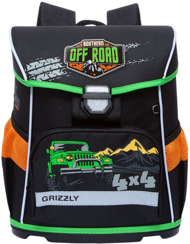 Grizzly Ранец школьный цвет черный RA-774-1RA-774-1/1Школьный ранец Grizzly обязательно привлечет внимание вашего ребенка. Ранец выполнен из современного легкого и прочного материала.Ранец содержит одно вместительное отделение, закрывающееся клапаном на защелку со встроенным светоотражателем. Клапан полностью откидывается, что облегчает пользование ранцем. На внутренней части клапана находится прозрачный пластиковый кармашек, в который можно поместить расписание занятий или личные данные ученика.По бокам ранца расположены два открытых кармана-сетка. На лицевой стороне находится накладной карман на застежке-молнии, куда будет удобно убирать пенал.Конструкция спинки снижает давление и оптимально распределяет нагрузку на позвоночник. Мягкие анатомические лямки позволяют легко и быстро отрегулировать ранец в соответствии с ростом ребенка. Ранец оснащен ручкой-петлей для удобной переноски в руке или подвешивания на крючок.Пластиковое дно обеспечивает ранцу хорошую устойчивость и защиту от загрязнений. Светоотражающие элементы обеспечивают дополнительную безопасность в темное время суток.