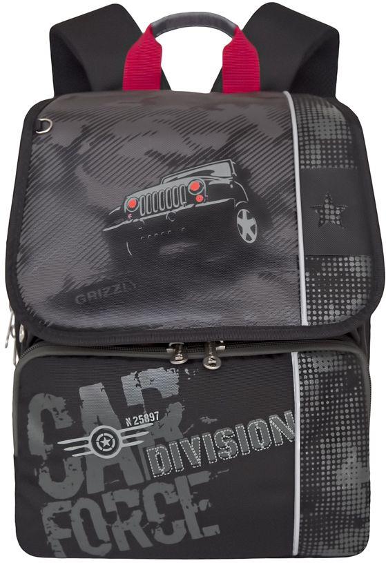 Grizzly Рюкзак цвет черный серый RA-777-2 grizzly рюкзак школьный цвет серый ra 780 1