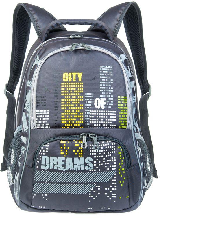 Grizzly Рюкзак цвет серый RB-626-1RB-626-1/3Рюкзак Grizzly сочетает в себе современный дизайн, функциональность и долговечность. Рюкзак выполнен из плотного материала, имеет два основных отделения на застежках-молниях с двумя бегунками. Внутри отделений имеются: подвесной карман на молнии и составной карман-органайзер.На лицевой стороне рюкзака располагается карман на молнии.По бокам рюкзака находятся два открытых сетчатых кармана. Рюкзак оснащен удобной текстильной ручкой для переноски в руке.Укрепленные регулируемые лямки и сетчатые мягкие вставки на спинке рюкзака предохранят мышцы спины ребенка от перенапряжения при длительном ношении.Светоотражающие вставки существенно повышают безопасность ребенка на дороге.