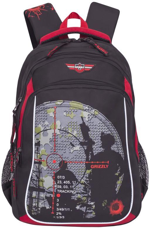 Grizzly Рюкзак цвет черный красный RB-732-1RB-732-1/1Школьный рюкзак Grizzly - это необходимый аксессуар для любого школьника. Рюкзак выполнен из плотного материала и оформлен оригинальным принтом.Рюкзак имеет три основных отделения, закрывающихся на застежки-молнии. По бокам рюкзак дополнен двумя открытыми сетчатыми карманами.Внутри отделения на передней стенке располагается органайзер - карман-сетка на молнии, большой накладной карман и кармашки для канцелярских принадлежностей. Внутри основного отделения расположен укрепленный накладной карман для планшета, дополненный прорезным карманом на молнии. Второе отделение не имеет карманов.Рюкзак оснащен удобной текстильной ручкой для переноски в руке, петлей для подвешивания и светоотражающими вставками.Спинка дополнена эргономичными воздухопроницаемыми подушечками, которые обеспечивают удобство и комфорт при носке. Укрепленные лямки анатомической формы регулируются по длине.Многофункциональный школьный рюкзак станет незаменимым спутником вашего ребенка в походах за знаниями.