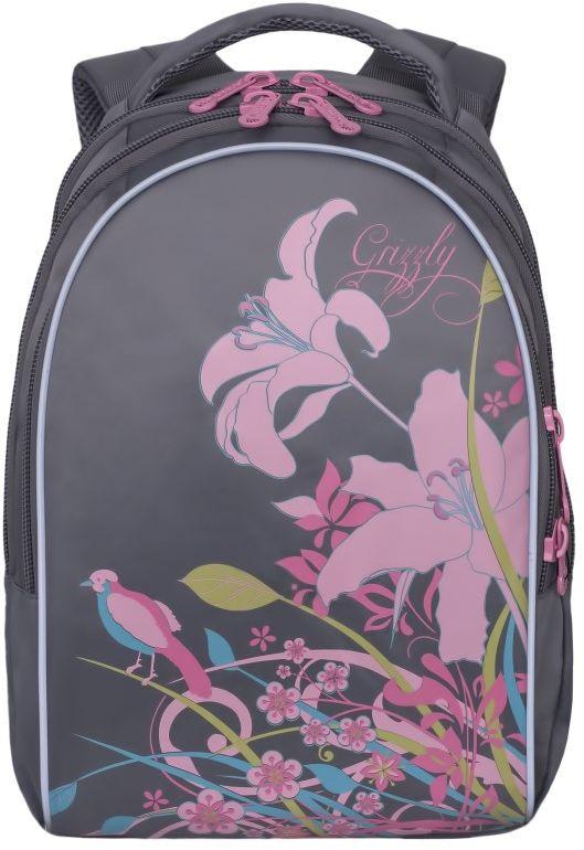 Grizzly Рюкзак цвет серый RG-657-1RG-657-1/3Рюкзак Grizzly - это красивый и удобный рюкзак, который подойдет всем, кто хочет разнообразить свои школьные будни. Рюкзак выполнен из плотного нейлона и оформлен оригинальным изображением цветов.Рюкзак имеет три основных отделения на застежках-молниях с двумя бегунками. Самое большое отделение имеет небольшой внутренний карман на молнии. Во втором отделении карманов нет. В третьем отделении располагается органайзер для школьных принадлежностей.Бегунки застежки-молнии дополнены удобными металлическими держателями с логотипом Grizzly.Рюкзак оснащен удобной ручкой для переноски. Светоотражающие элементы находятся по всему периметру рюкзака и обеспечивают дополнительную безопасность в темное время суток.Широкие регулируемые лямки и сетчатые мягкие вставки на спинке рюкзака предохранят мышцы спины ребенка от перенапряжения при длительном ношении.Многофункциональный школьный рюкзак станет незаменимым спутником вашего ребенка в походах за знаниями.