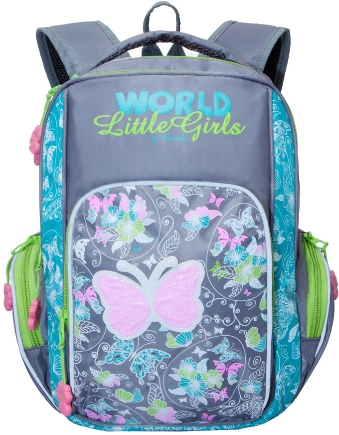 Grizzly Рюкзак школьный цвет бирюзовый серый RG-660-3RG-660-3/3Рюкзак школьный, два отделения, объемный карман на молнии на передней стенке, объемные боковые карманы на молнии, внутренний карман, внутренний подвесной карман на молнии, откидное жесткое дно, жесткая анатомическая спинка, мягкая укрепленная ручка, укрепленные лямки, светоотражающие элементы с четырех сторон.