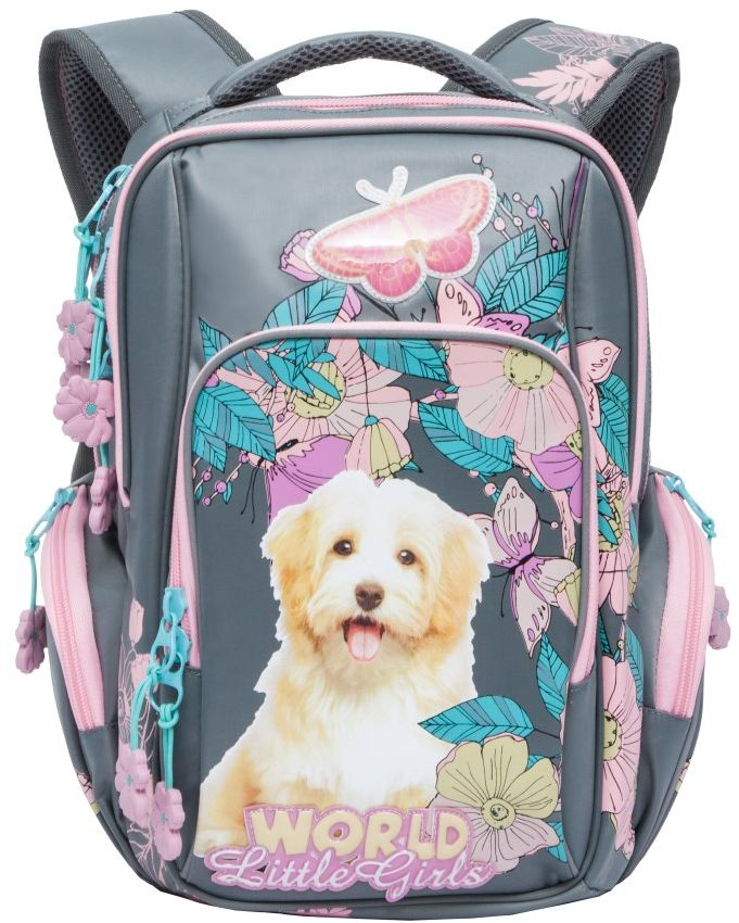 Grizzly Рюкзак цвет серый розовый RG-760-1RG-760-1/3Школьный рюкзак Grizzly - это необходимый аксессуар для любого школьника.Изделие выполнено из плотного материала и оформлено оригинальным принтом.Рюкзак имеет два основных отделения, закрывающихся на застежки-молнии с двумя бегунками, и вместительный накладной карман на передней стенке. По бокам рюкзак дополнен двумя накладными карманами на молниях.Внутри накладного кармана спереди располагается карман-сетка. Внутри основного отделения расположен накладной карман на молнии. Дно рюкзака можно сделать жестким, разложив специальную панель, что повышает сохранность содержимого рюкзака и способствует правильному распределению нагрузки.Рюкзак оснащен удобной текстильной ручкой для переноски в руке и светоотражающими вставками.Спинка дополнена эргономичными воздухопроницаемыми подушечками, которые обеспечивают удобство и комфорт при носке. Мягкие укрепленные лямки анатомической формы регулируются по длине.Многофункциональный школьный рюкзак станет незаменимым спутником вашего ребенка в походах за знаниями.