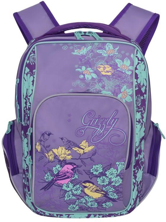 Grizzly Рюкзак цвет лиловый RG-760-3RG-760-3/2Школьный рюкзак Grizzly - это необходимый аксессуар для любого школьника.Изделие выполнено из плотного материала и оформлено оригинальным принтом.Рюкзак имеет два основных отделения, закрывающихся на застежки-молнии с двумя бегунками, и вместительный накладной карман на передней стенке. По бокам рюкзак дополнен двумя накладными карманами на молниях.Внутри накладного кармана спереди располагается карман-сетка. Внутри основного отделения расположен накладной карман на молнии. Дно рюкзака можно сделать жестким, разложив специальную панель, что повышает сохранность содержимого рюкзака и способствует правильному распределению нагрузки.Рюкзак оснащен удобной текстильной ручкой для переноски в руке и светоотражающими вставками.Спинка дополнена эргономичными воздухопроницаемыми подушечками, которые обеспечивают удобство и комфорт при носке. Мягкие укрепленные лямки анатомической формы регулируются по длине.Многофункциональный школьный рюкзак станет незаменимым спутником вашего ребенка в походах за знаниями.