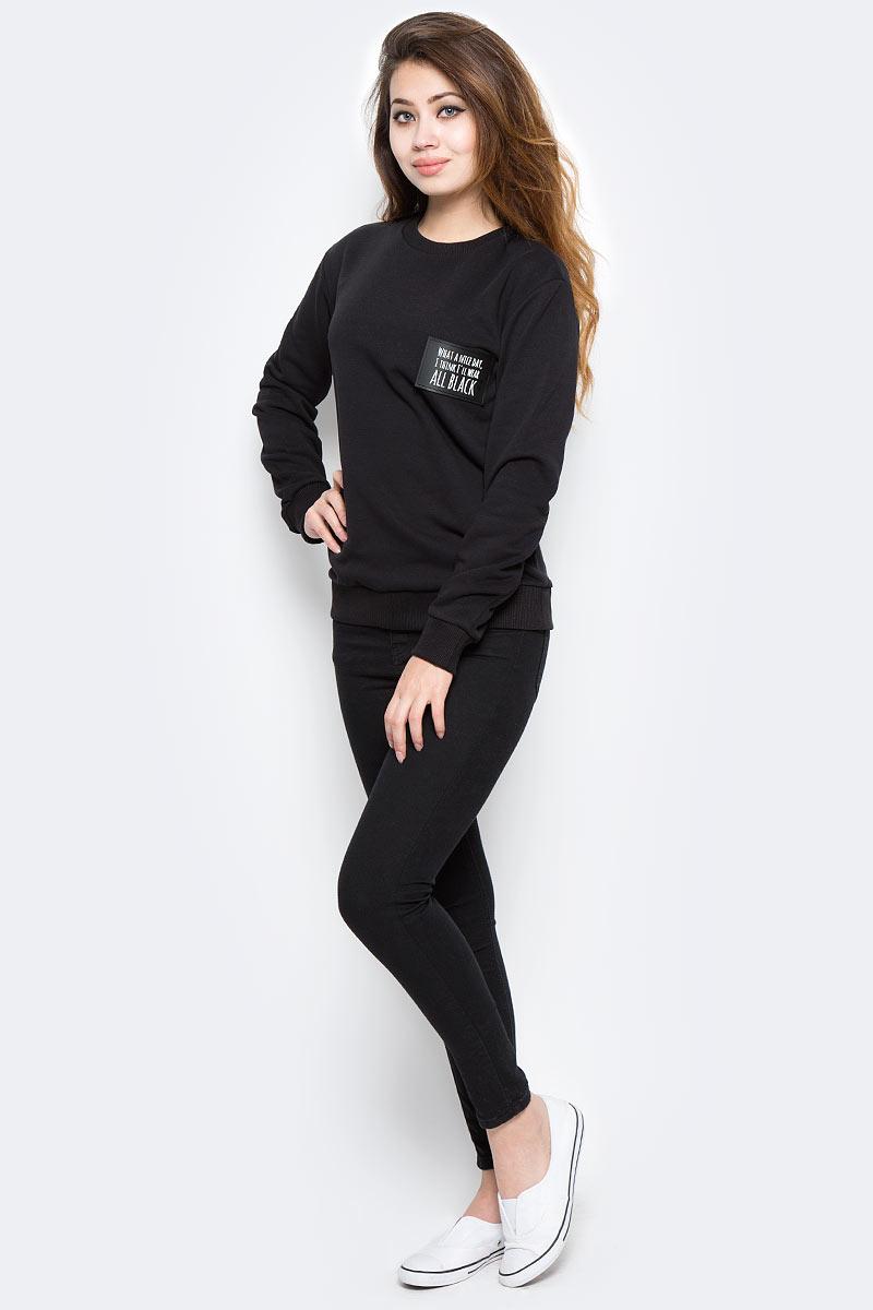 Свитшот женский Kawaii Factory All black, цвет: черный. KW079-000116. Размер M (44)KW079-000116