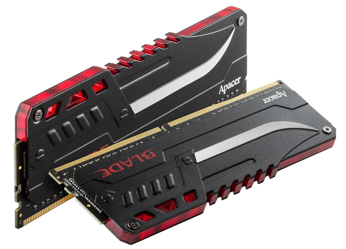 Apacer Blade Fire LED DDR4 2x8Gb 3000 МГц комплект модулей оперативной памяти (EK.16GAZ.GEDK2)EK.16GAZ.GEDK2Комплект модулей оперативной памяти Apacer Blade Fire LED типа DDR4 обеспечивает увеличенную рабочую частоту (по сравнению с предыдущем поколением) при сниженном тепловыделении и экономном энергопотреблении. Данная память специально разработана для процессоров Intel Skylake и поддерживает новейший стандарт Intel XMP2.0. Саблевидный теплораспределитель с красной мерцающей подсветкой гарантирует отличную производительность.Общий объем памяти в 16 ГБ позволит свободно работать со стандартными, офисными и профессиональными ресурсоемкими программами, а также современными требовательными играми. Работа осуществляется при тактовой частоте 3000 МГц и пропускной способности, достигающей до 24000 Мб/с, что гарантирует качественную синхронизацию и быструю передачу данных, а также возможность выполнения множества действий в единицу времени. Параметры тайминга 16-16-16-36 гарантируют быструю работу системы.
