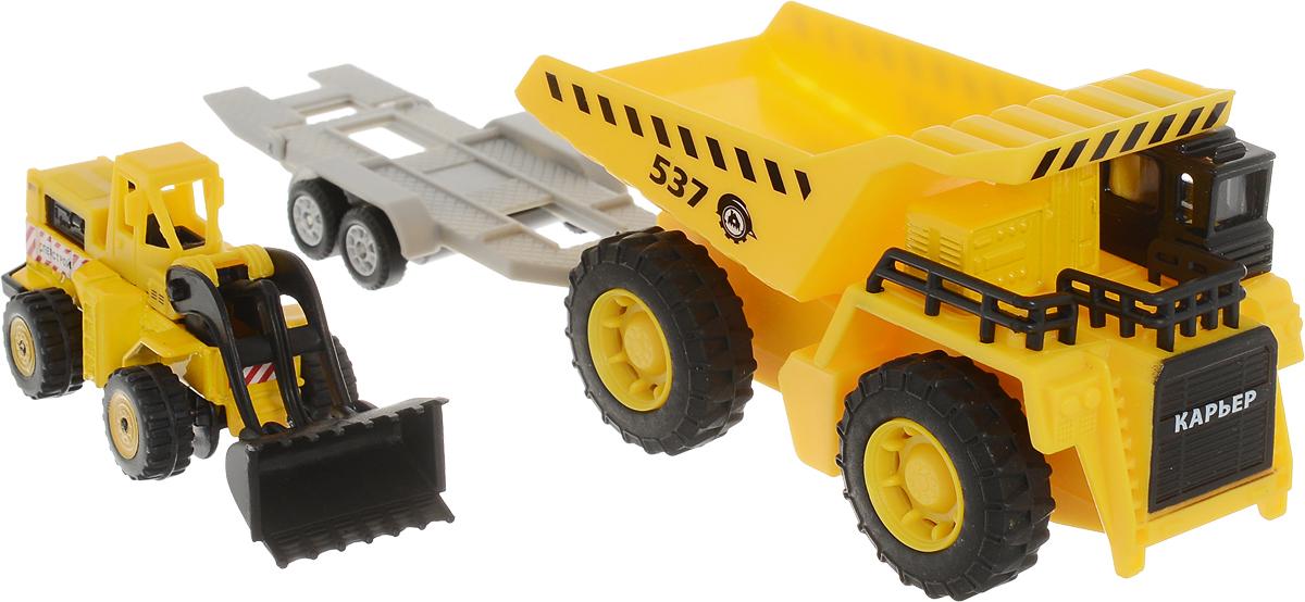 ТехноПарк Набор машинок Карьерный самосвал с бульдозером на тележке игрушка welly модель машины карьерный самосвал 99612 page 3