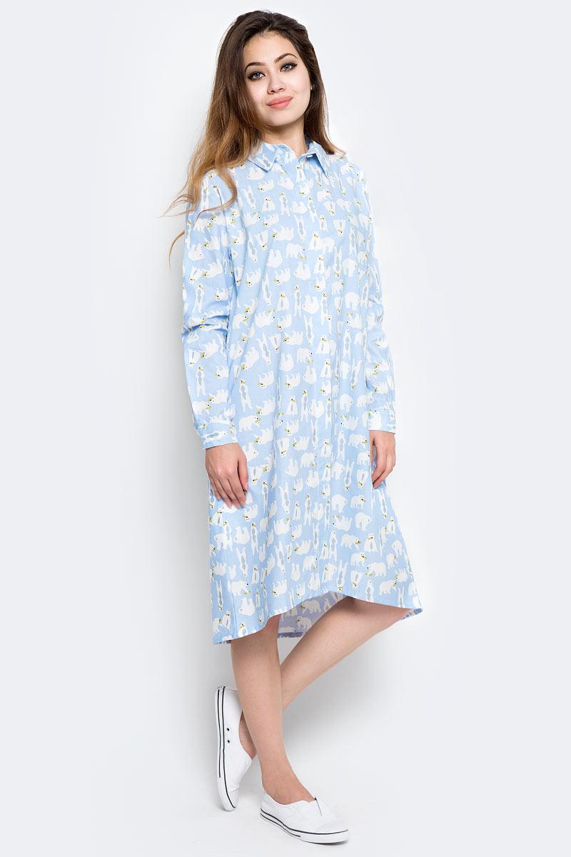 Платье Kawaii Factory Белые медведи, цвет: голубой. KW177-000043. Размер 42/46KW177-000043