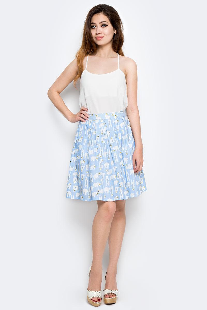 Юбка Kawaii Factory Белые медведи, цвет: голубой. KW175-000009. Размер S (42) платье kawaii factory цвет черный kw177 000009 размер 42 46