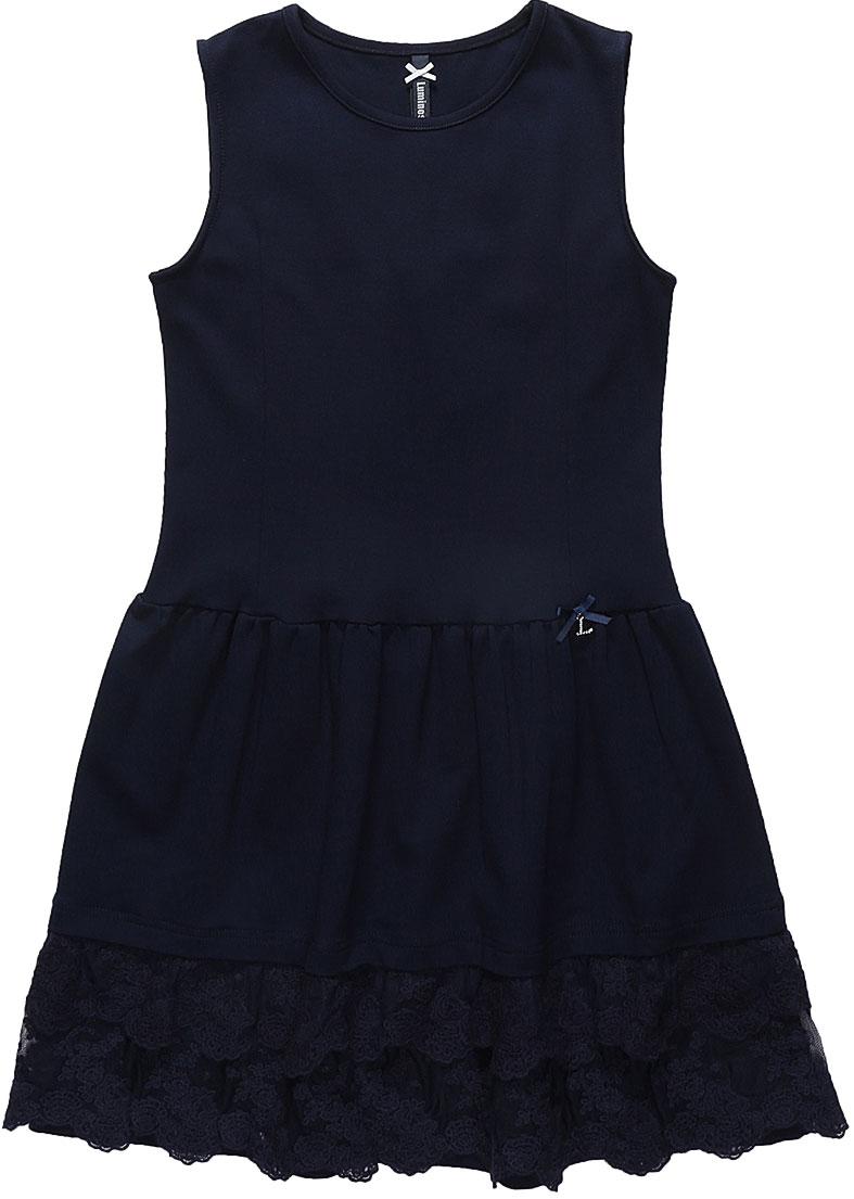 Платье Luminoso, цвет: темно-синий. 728062. Размер 164728062Платье Luminoso изготовлено из хлопка и полиэстера с добавлением эластана. Модель без рукавов имеет круглый вырез горловины и пышную юбочку, отделанную кружевом. Платье в области талии дополнено бантиком с подвеской.