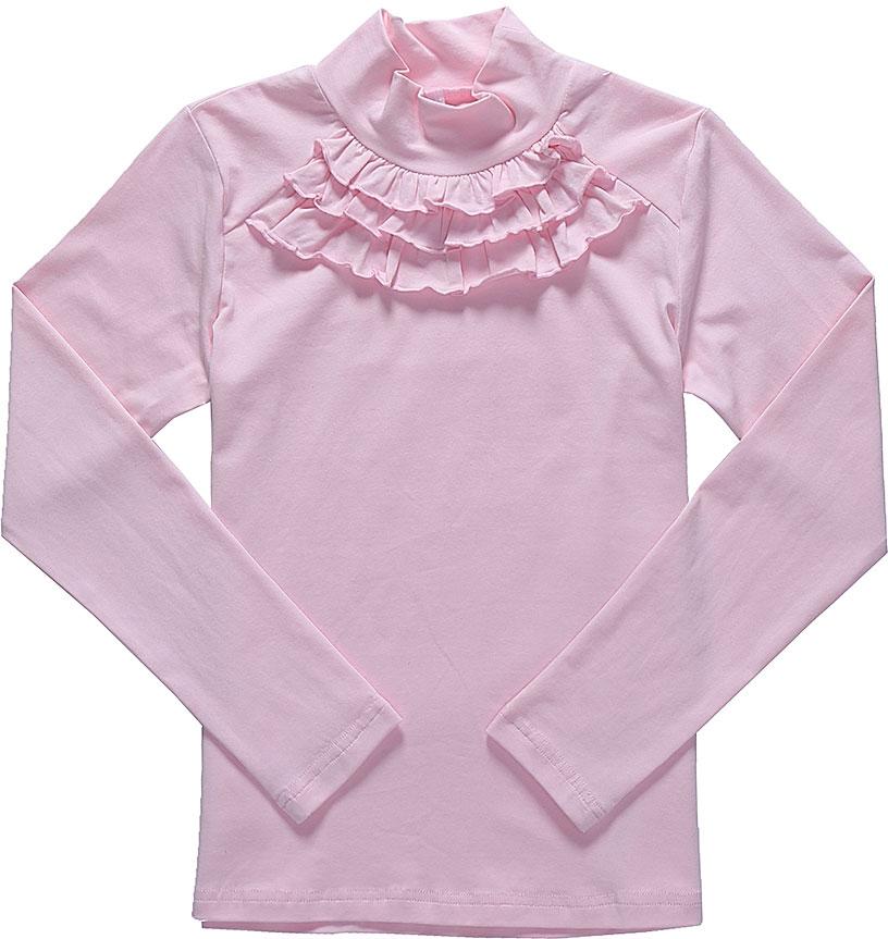 Водолазка для девочки Luminoso, цвет: розовый. 728100. Размер 122728100Водолазка для девочки Luminoso выполнена из хлопка с добавлением эластана. Модель имеет длинные рукава и воротник-стойку. На груди дополнена рюшами.