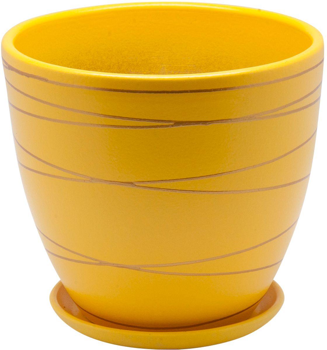 Горшок цветочный Engard, с поддоном, цвет: желтый, 1,4 л. BH-25-1BH-25-1Керамический горшок Engard - это идеальное решение для выращивания комнатных растений и создания изысканности в интерьере. Керамический горшок сделан из высококачественной глины в классической форме и оригинальном дизайне.Объем: 1,4 л.