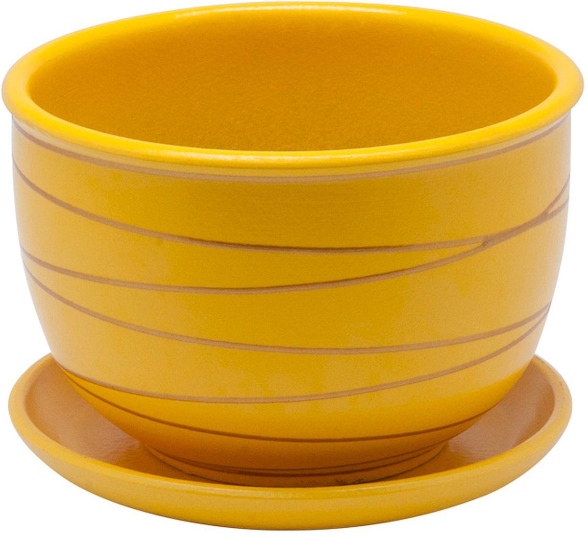 Горшок цветочный Engard, с поддоном, цвет: желтый, 1,05 лBH-25-4Керамический горшок Engard - это идеальное решение для выращивания комнатных растений и создания изысканности в интерьере. Керамический горшок сделан из высококачественной глины в классической форме и оригинальном дизайне.Объем: 1,05 л.
