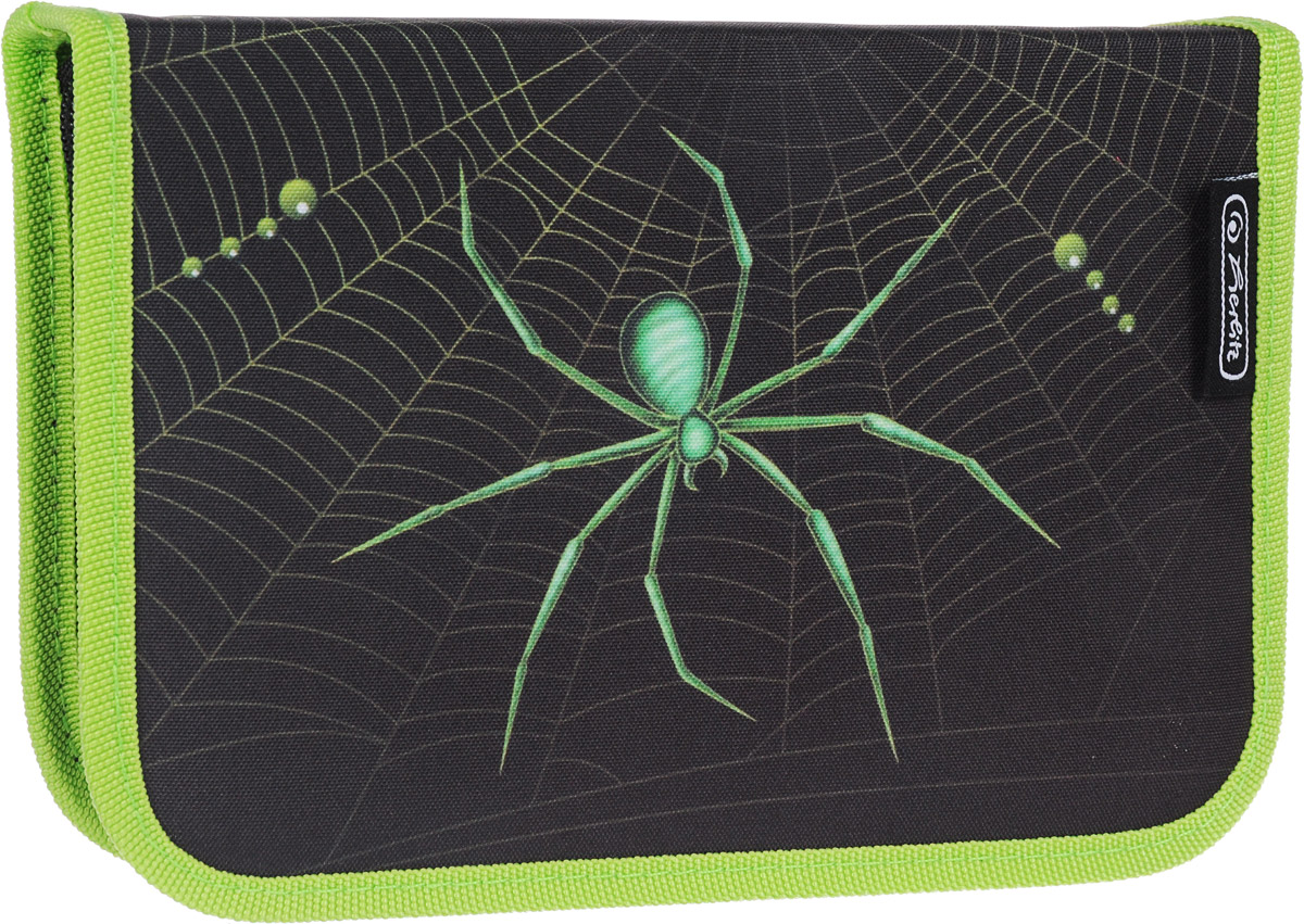 Herlitz Пенал Spider с наполнением 31 предмет50008407Пенал Herlitz Spider станет не только практичным, но и стильным аксессуаром для школьника.Жесткий пенал прямоугольной формы выполнен из прочного материала и отделан жестким кантом по краю, который поможет сохранить опрятный внешний вид. Пенал состоит из одного вместительного отделения с двумя створками, закрывающегося на застежку-молнию. Наполнение пенала включает 31 предмет: 1 шариковая ручка, 2 чернографитных карандаша, 8 цветных карандашей, 14 фломастеров, линейка и угольник, ластик и точилка, расписание уроков на русском языке, личные данные ученика.