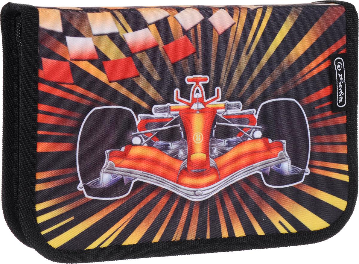 Herlitz Пенал Formula 1 с наполнением 31 предмет50008421Пенал Herlitz Formula 1 станет не только практичным, но и стильным аксессуаром для школьника.Жесткий пенал прямоугольной формы выполнен из прочного материала и отделан жестким кантом по краю, который поможет сохранить опрятный внешний вид. Пенал состоит из одного вместительного отделения с двумя створками, закрывающегося на застежку-молнию. Наполнение пенала включает шариковую ручку, 2 чернографитных карандаша, 8 цветных карандашей, 14 фломастеров, линейку и угольник, ластик и точилку, расписание уроков на русском языке и карточку для записи личных данных ученика.Пенал оформлен оригинальным принтом.Такой пенал станет незаменимым помощником для школьника, с ним ручки и карандаши всегда будут под рукой и больше не потеряются.