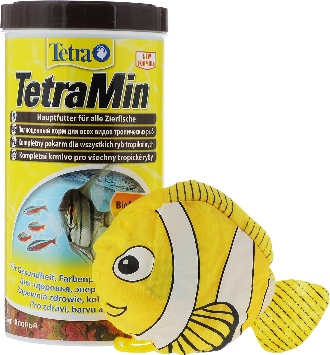 Корм Tetra TetraMin для всех видов тропических рыб, хлопья, 1 л (200 г) + Подарок: Сумка корм tetra tetramin xl flakes complete food for larger tropical fish крупные хлопья для больших тропических рыб 10л 769946