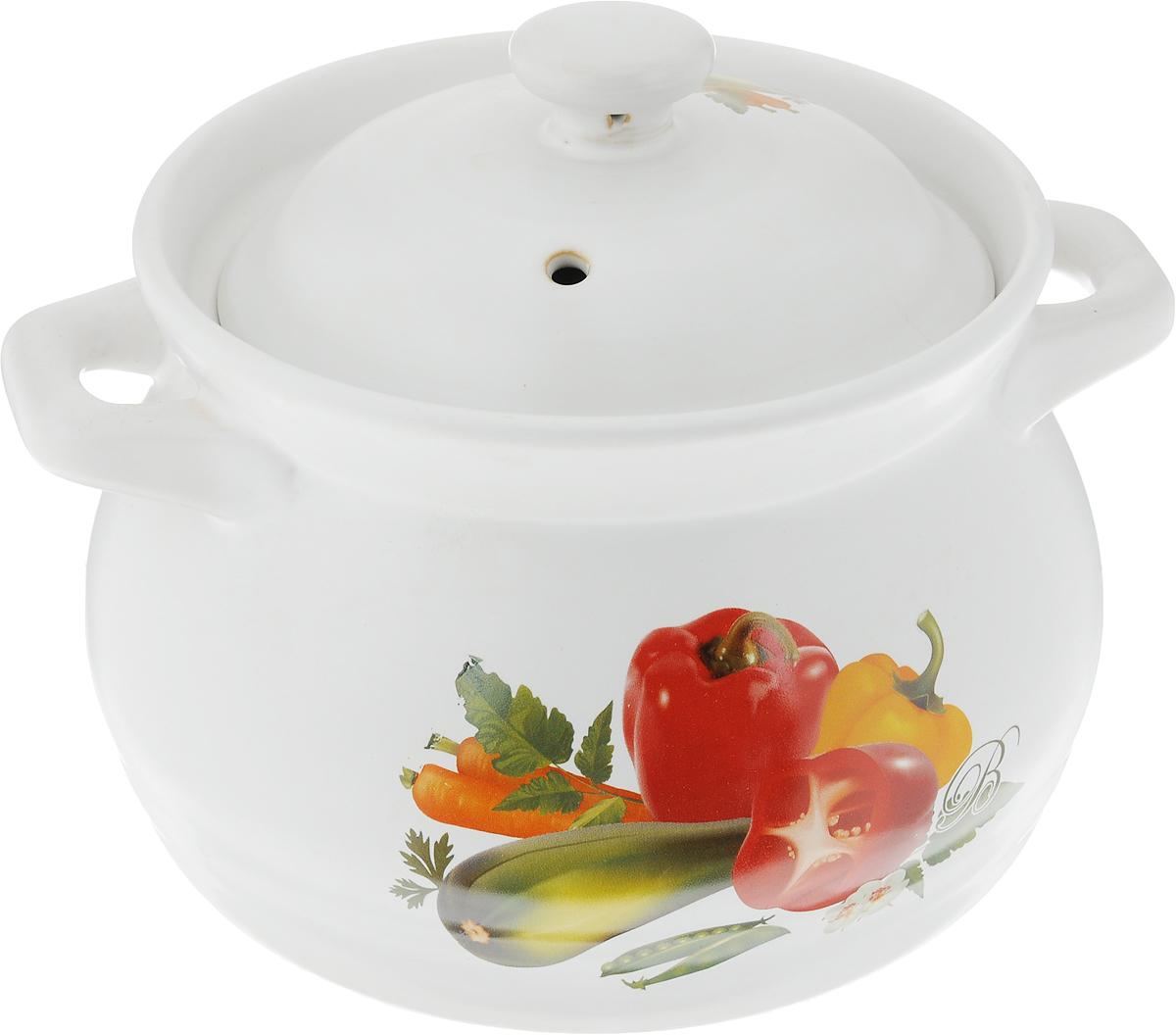 Кастрюля-супница Bohmann Овощи с крышкой, 1,8 л1318BHC_белый/овощиКастрюля-супница Bohmann Овощи, изготовленная из жаропрочной керамики, предназначена для приготовления и подачи супов, бульонов, гуляшей, жаркое. Изделие оснащено крышкой с отверстием для выпуска пара и удобными ручками. Внешние стенки дополнены красочным изображением овощей. В такой кастрюле можно жарить, тушить, варить. Изделие выдерживает температуру от -20°С до +300°С. Подходит для различных типов плит, в том числе газовых, электрических, микроволновой печи, духового шкафа, а также для хранения пищи в холодильнике. Разрешено мыть в посудомоечной машине.Диаметр супницы (по верхнему краю): 16 см. Ширина супницы (с учетом ручек): 21 см. Высота супницы (без учета крышки): 12,5 см. Диаметр основания: 15 см.