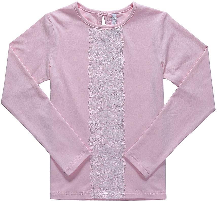 Блузка для девочки Luminoso, цвет: розовый, белый. 728120. Размер 146728120Детская блузка Luminoso выполнена из хлопка с добавлением эластана. Модель имеет длинные рукава и круглый вырез горловины. Сзади вырез капелька и застежка на пуговицу. Блузка спереди дополнена кружевом.