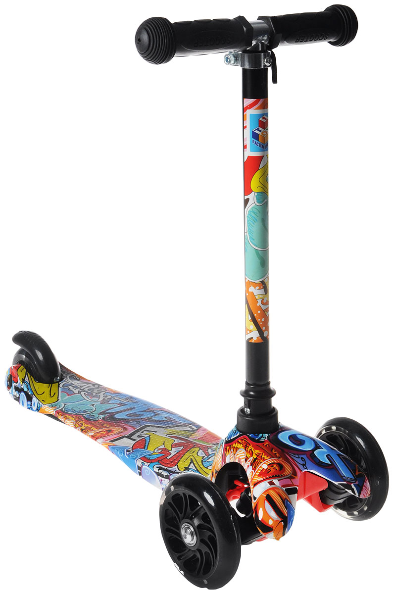"""Самокат детский """"1 Toy"""", трехколесный, со светящимися колесами, с регулируемой ручкой, цвет: синий, черный, красный, 1TOY"""