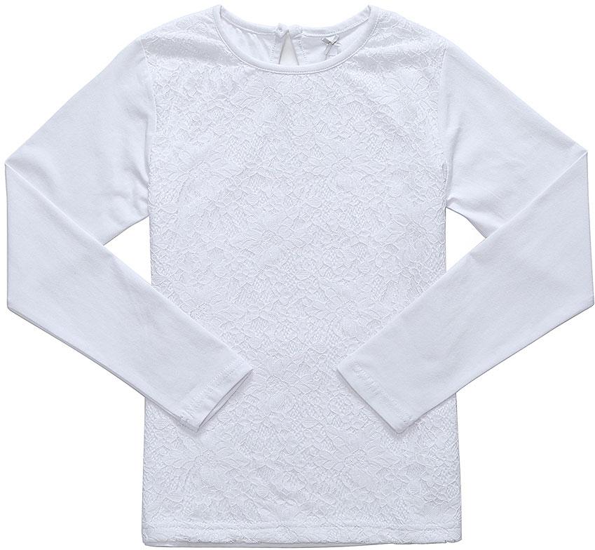 Блузка для девочки Luminoso, цвет: белый. 728144. Размер 122728144Блузка Luminoso выполнена из хлопка с добавлением эластана. Модель имеет длинные рукава и круглый вырез горловины. Сзади вырез капелька и застежка на пуговицу. Спереди блузка дополнена кружевом.