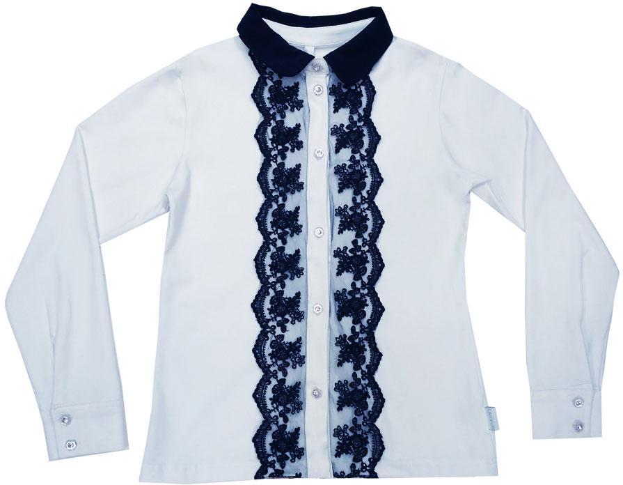Блузка для девочки Luminoso, цвет: белый, темно-синий. 728147. Размер 158728147Классическая детская блузка Luminoso выполнена из хлопка с добавлением эластана. Модель застегивается на пуговицы, имеет длинные рукава с манжетами на пуговицах и отложной воротник. Декорирована кружевом контрастного цвета.