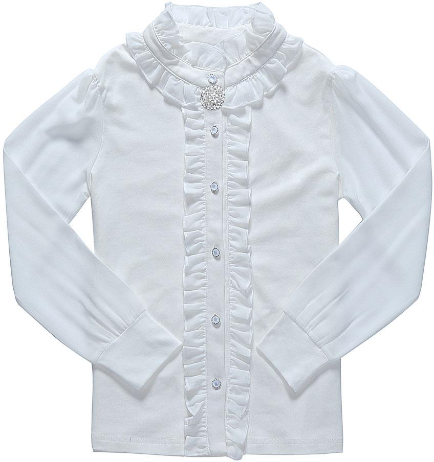 Блузка для девочки Luminoso, цвет: молочный. 728160. Размер 164728160Детская блузка Luminoso выполнена из хлопка с добавлением эластана. Модель имеет длинные рукава с эластичными манжетами и воротник с застежкой на пуговицу. Блузка украшена рюшами и декоративными пуговицами, а также дополнена брошкой.