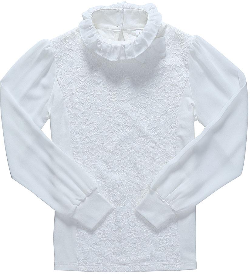Блузка для девочки Luminoso, цвет: молочный. 728161. Размер 134728161Детская блузка Luminoso выполнена из хлопка с добавлением эластана. Модель имеет длинные рукава с эластичными манжетами и воротник-стойку, отделанный рюшами. Сзади вырез капелька и застежка на две пуговицы. Блузка дополнена кружевом и бантиком.