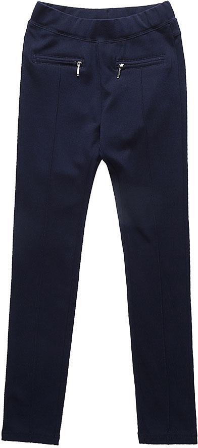 Брюки для девочки Luminoso, цвет: темно-синий. 728224. Размер 146728224Классические брюки для девочки Luminoso выполнены из хлопка и полиэстера с добавлением эластана. Модель имеет резинку на талии для комфортной посадки и 2 кармана на молнии. Брюки спереди дополнены декоративной отстрочкой.