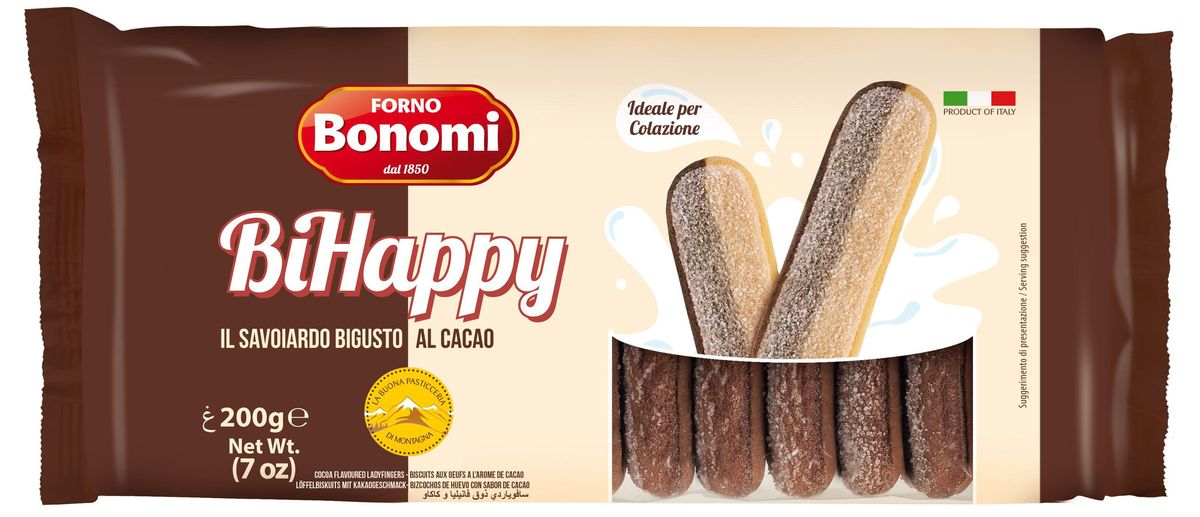 Forno Bonomi Савоярди печенье двухцветное, 200 г бисквитные палочки савоярди 400 гр