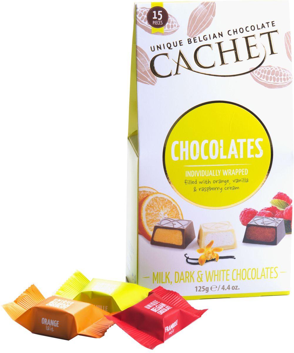 Cachet конфеты шоколадные ассорти ваниль, апельсин, малина, 130 гМС-00007445Конфеты шоколадные ассорти (ваниль, апельсин, малина) Cachet с фруктовыми начинками идеален в качестве подарка и дополнения к душевному чаепитию. Продукция компании популярна во всем мире благодаря своему высокому качеству и изысканному дизайну. Вся продукция Kim's Chocolates NV изготавливается по оригинальной старинной бельгийской рецептуре, которая придает шоколаду незабываемый и неповторимый вкус.Лучшие ингредиенты, современные технологии и строгий контроль на всех этапах производства гарантируют высокое качество продукцииKim's Chocolates NV.
