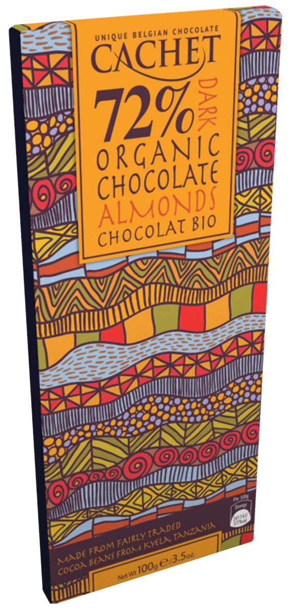 Cachet Organic Tanzania шоколад горький с миндалем 72% какао, 100 г